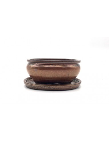 Oval pot 15.5 cm with oxide plate 23502