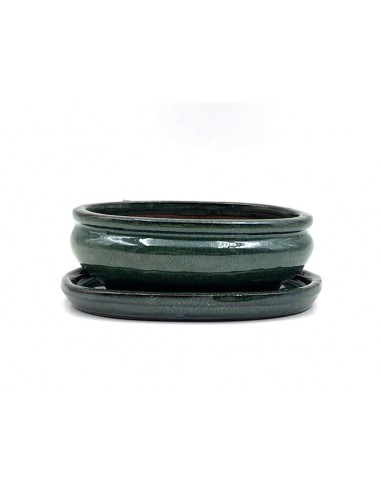 Oval pot 15.5 cm with green plate 39275